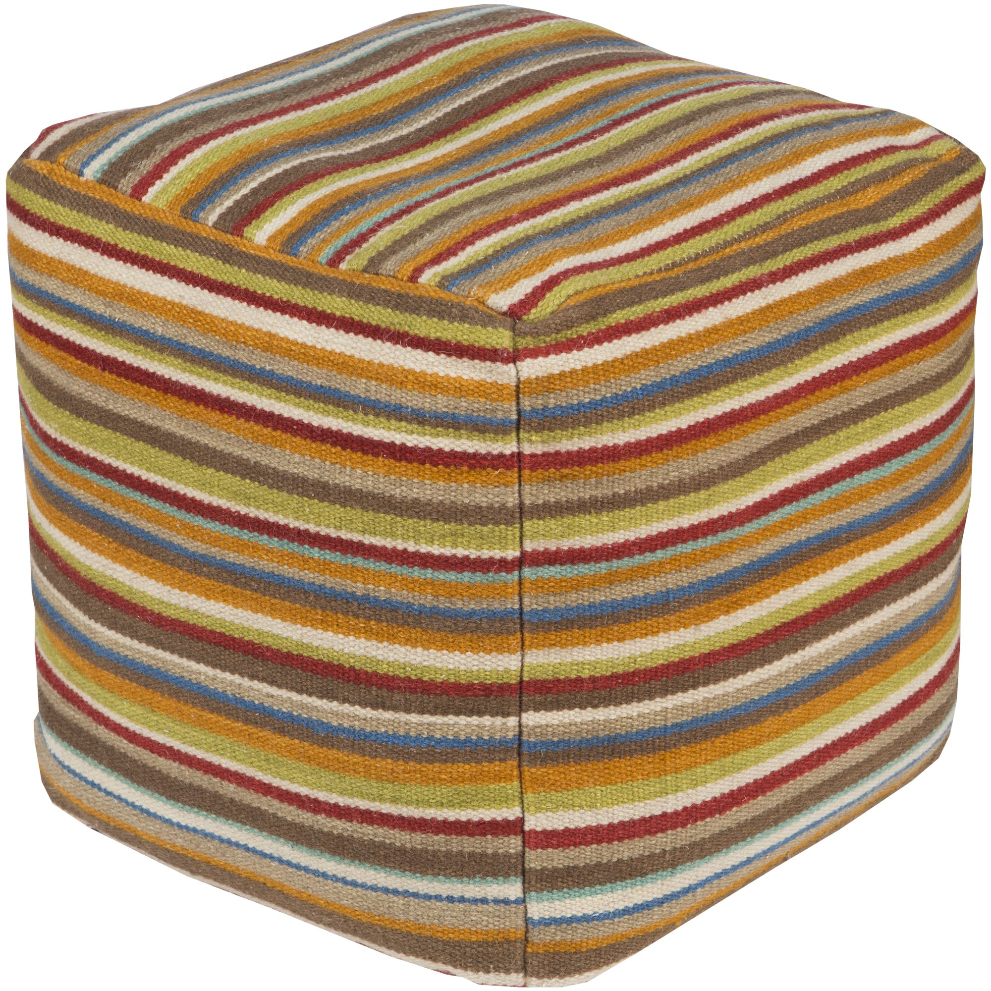 Surya POUF-149 Hand Made 80% Wool, 20% Cotton Venetian Red 18'' x 18'' Pouf