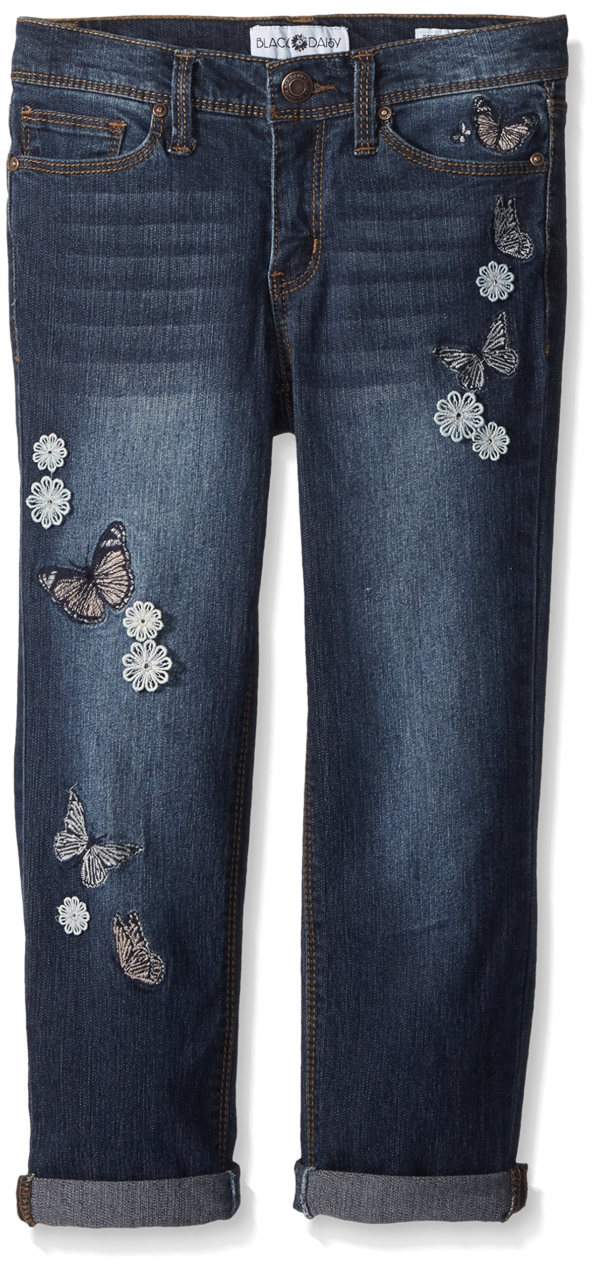 Black Daisy Big Girls' Tween Best Friend Relaxed Skinny Jean, Rinse Butterfly Embroidery, 8