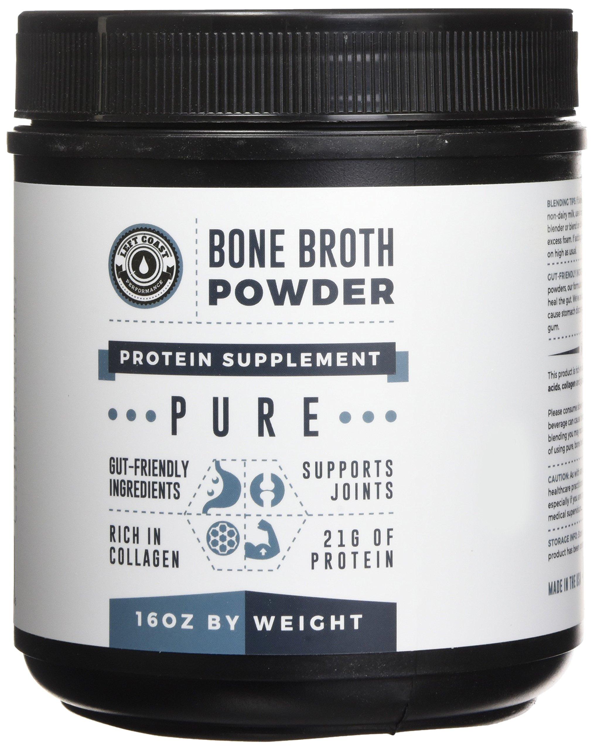 Bone Broth Protein Powder Pure 16oz, 100% Grass Fed Beef - Unflavored, Paleo Friendly, Gut-Friendly, Non-GMO, Dairy-Free Protein Powder. Rich in Collagen, Glucosamine & Gelatin, Left Coast Performance