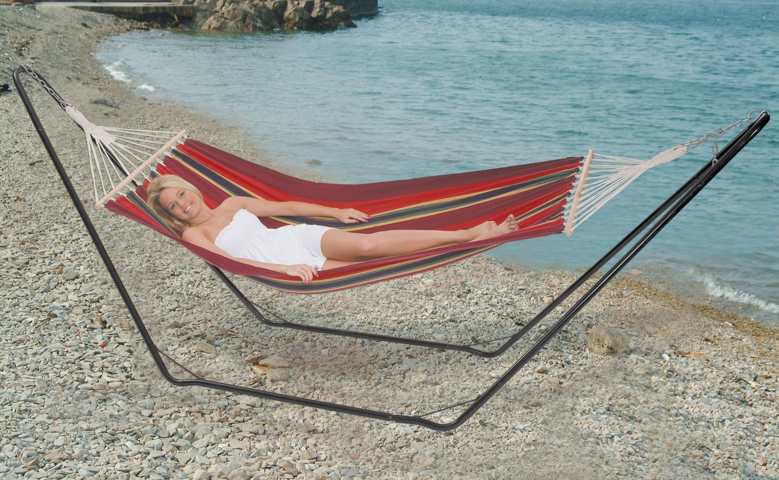 Stansport Bahamas Single Cotton Hammock (Blue) by Stansport