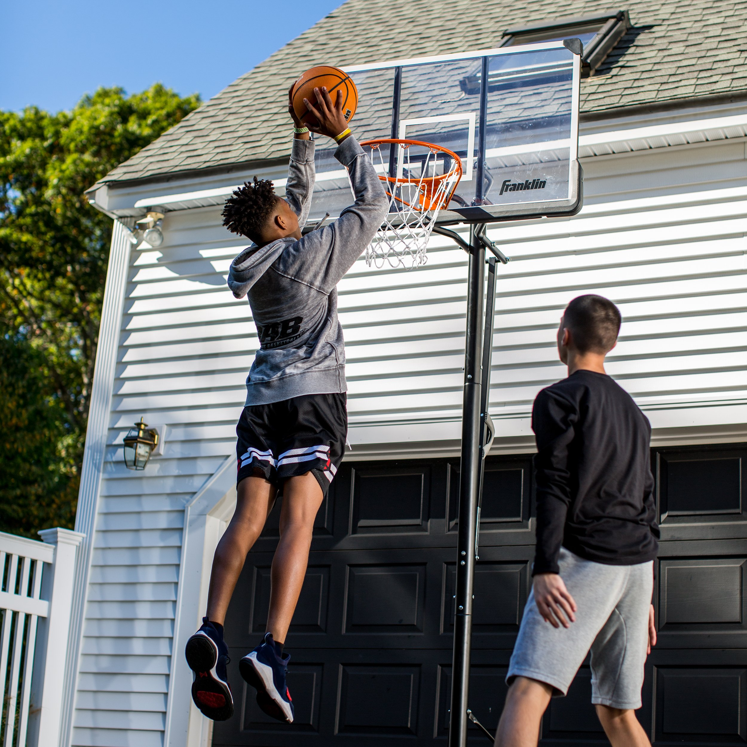Franklin Sports Portable Basketball Hoop – Authentic Street Basketball Hoop for Adults and Kids – Adjustable Basketball Hoop with Rolling Mechanism – Play Basketball in Your Driveway by Franklin Sports (Image #7)