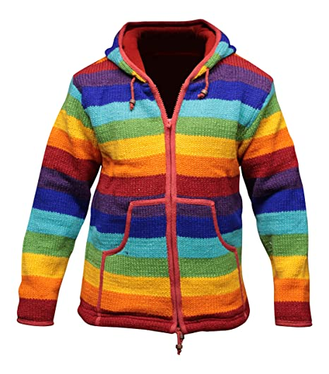 198a4bc1d Rainbow Stripe Hooded Woolen Jacket Fleece Lined Super Warm Hand ...