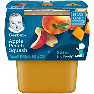 Gerber 2nd Foods Apple Peach Squash, 4 Ounce Tubs, 2 Count (Pack of 8), 4 Ounce (Pack of 16)