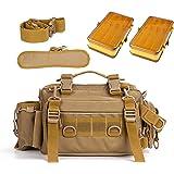 YLINSHA Fishing Tackle Bag,Fishing Bag with Rod holde, Bishing Bags with Tackle Boxes with Two Doublesided Tackle Trays…