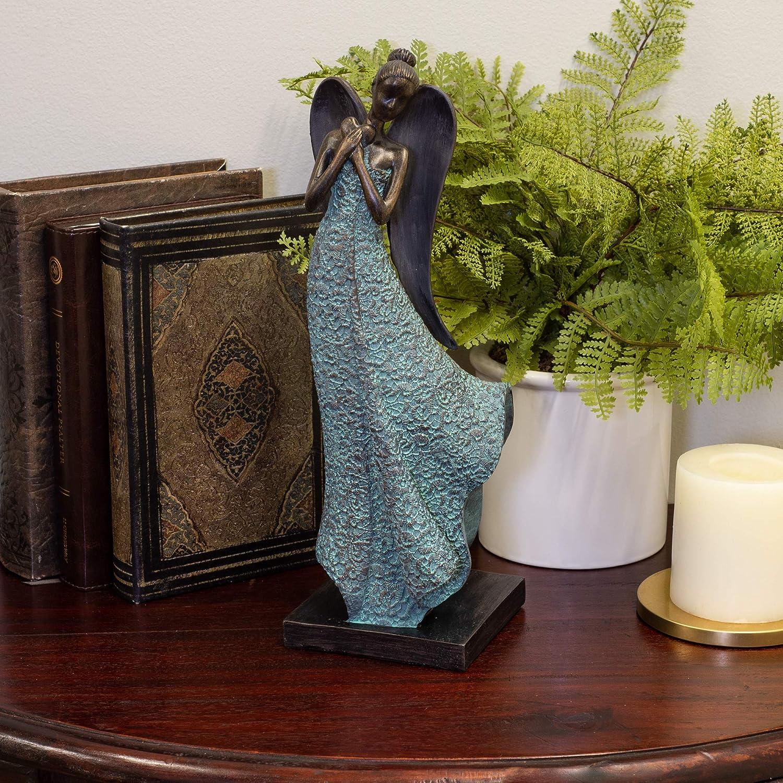 Distressed Filigree Blue Angel Heart 12.5 inch Resin Decorative Tabletop Figurine