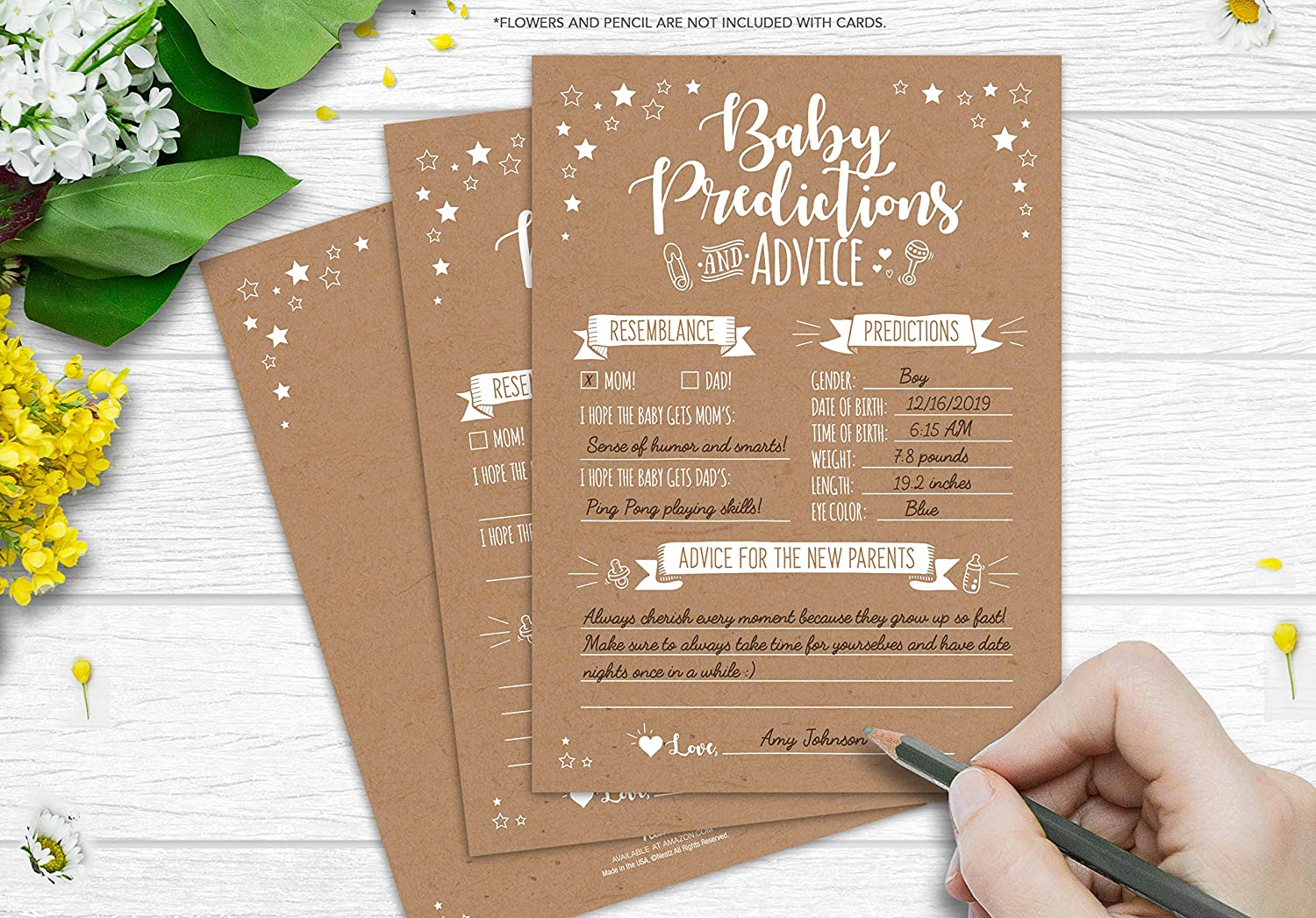 Baby Shower Decorations Gender Neutral Boy or Girl Baby Shower Favors 50 Rustic Baby Shower Prediction and Advice Cards Baby Shower Games
