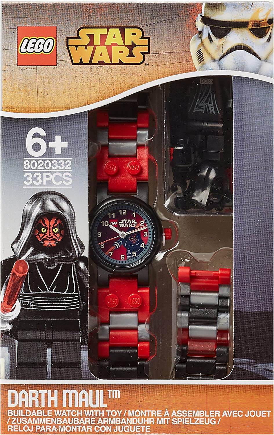 Lego Star Wars Darth Maul Hood Minifigure Children S Quartz Watch With Black Dial Analogue Display And Multicolour Plastic Link Strap 9004315 Amazon Co Uk Watches