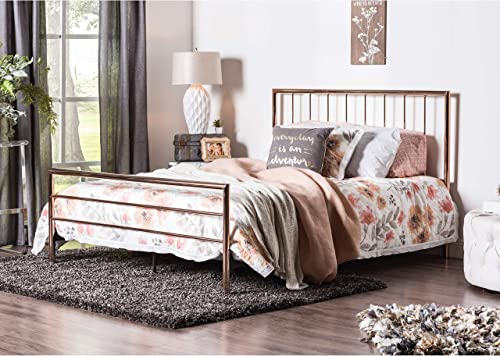 Furniture of America Hollander Contemporary Rose Gold Metal Bed Queen