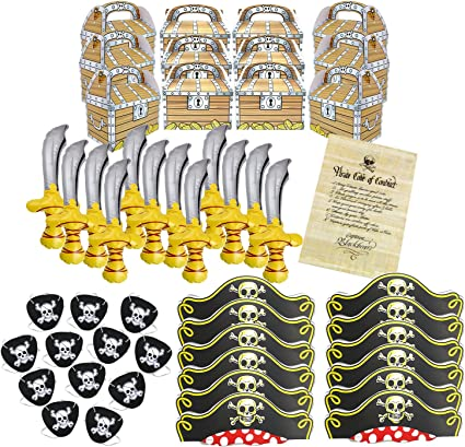 Pirate Birthday Party Supplies Bundle with Inflatable Swords, Hats, Eye Patches, Favor Boxes and Authentic Code of Conduct Great for Birthday Parties ...