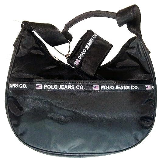 Ralph Lauren Polo Jeans Company Hobo Bag Handbag \u0026 Coin Purse (Black)