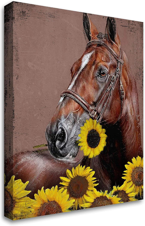 Rustic Wall Art & Sunflower Horse - Farmhouse Flowers Animal Wood Grain Giclee Canvas Framed Art Wall Decor for Bathroom Bedroom Live Room , 12x16 inch