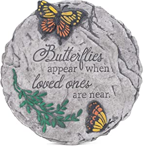 Transpac Butterflies Appear Loved Ones Round Grey 10 x 10 Cement Decorative Outdoor Garden Stone