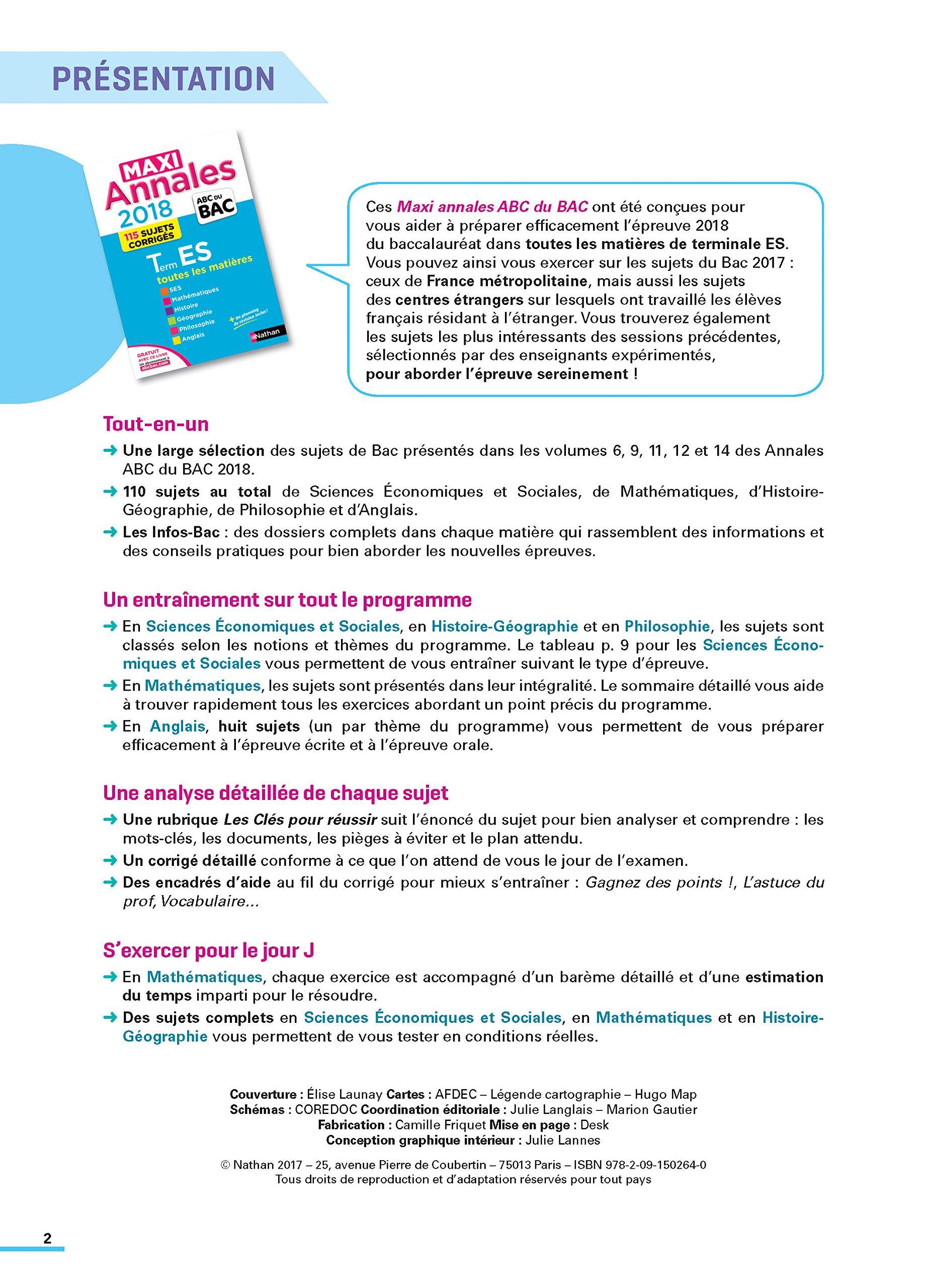 Terminale ES maxi-annales : Sujets & corrigés: 9782091502649: Amazon.com: Books