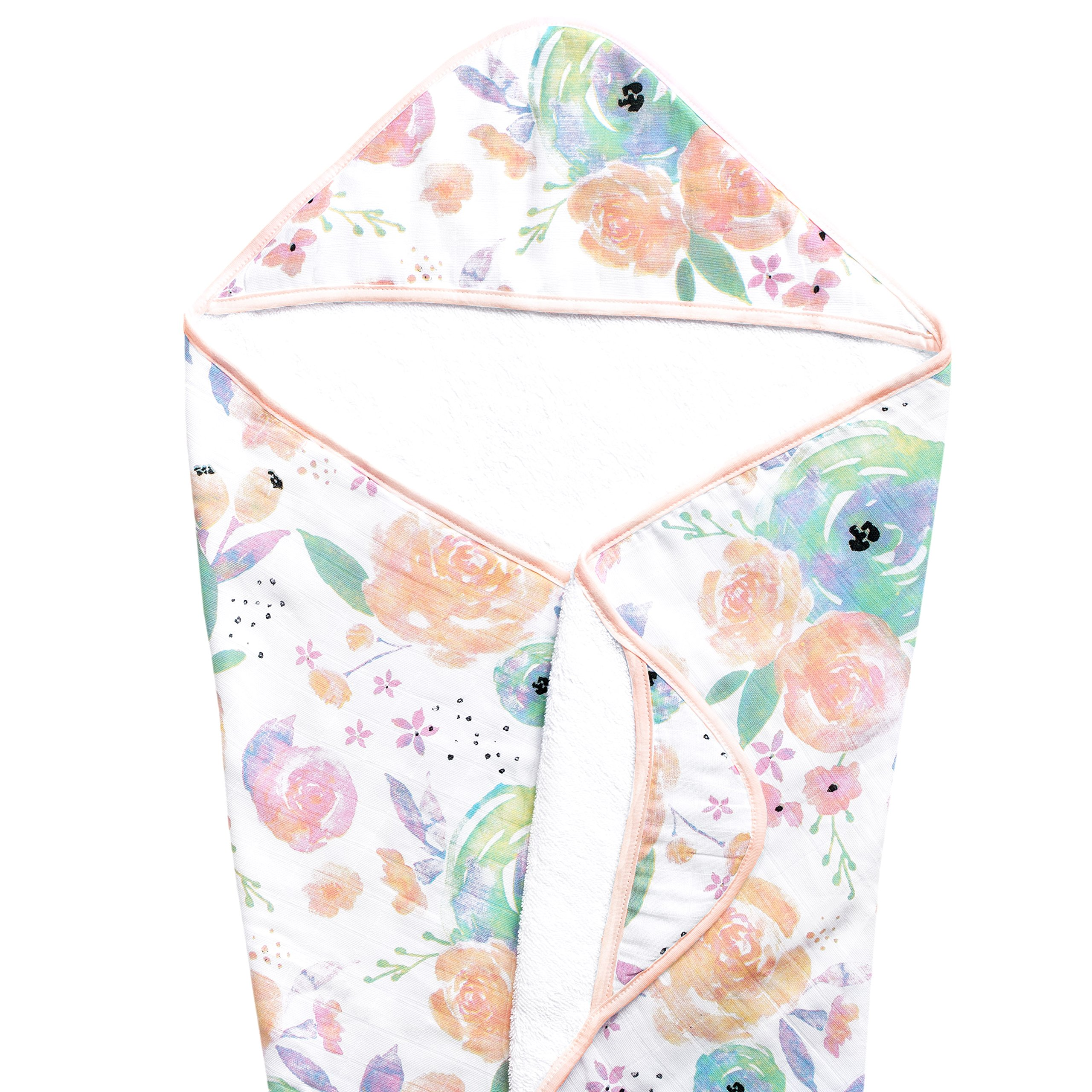 Muslin Hooded Bath Towel for Baby or Toddler with Terry Cloth Interior 33 inches''Bloom Floral'' by Copper Pearl