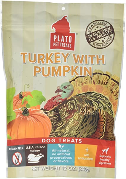 Amazon.com : PLATO Dog Treats -Turkey with Pumpkin- 12 oz ...