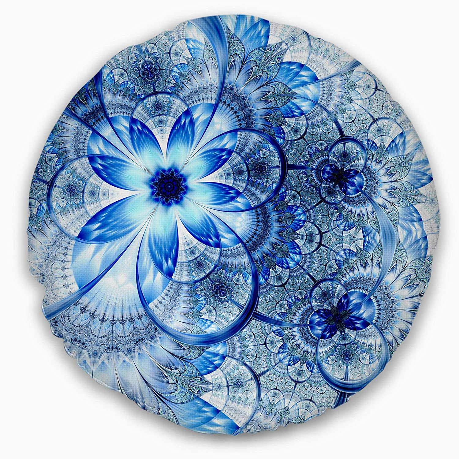 Designart CU11941-20-20-C Dark Blue Flower Pattern Design' Floral Round Cushion Cover for Living Room, Sofa Throw Pillow 20', Insert Printed On Both Side