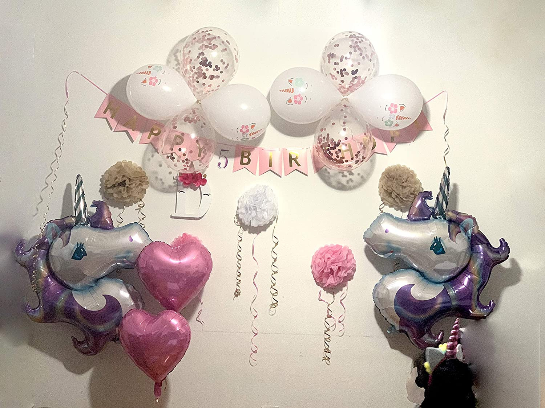 Wedding Bridal 2 Pack Purple Baby Shower SAMIKA Purple Unicorn Balloons Helium Large Balloon for Kids Birthday Party