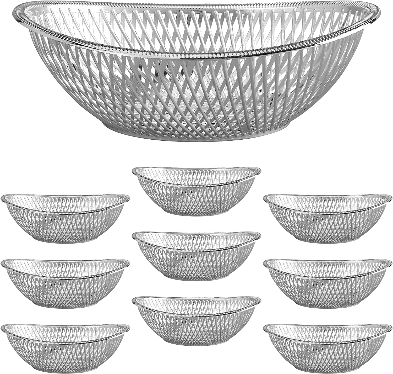 "Medium Plastic Silver Bread Baskets - 10pk. Reusable 10"" Oval Food Storage Basket - Elegant Modern Décor for Kitchen, Restaurant, Centerpiece Display - by Impressive Creations"