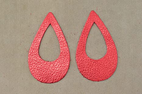 """12pk-Leather Teardrop Window Die Cut Gun Metal Metallic/""""Vegas/""""DIY Earrings"""