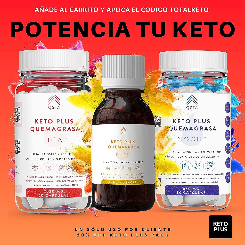 Keto Plus Quemagrasas DIA 2-EN-1 (60 capsulas), Quemagrasas potente para adelgazar, Pastillas para adelgazar muy rapido, Quema grasas QSTA Medical, ...