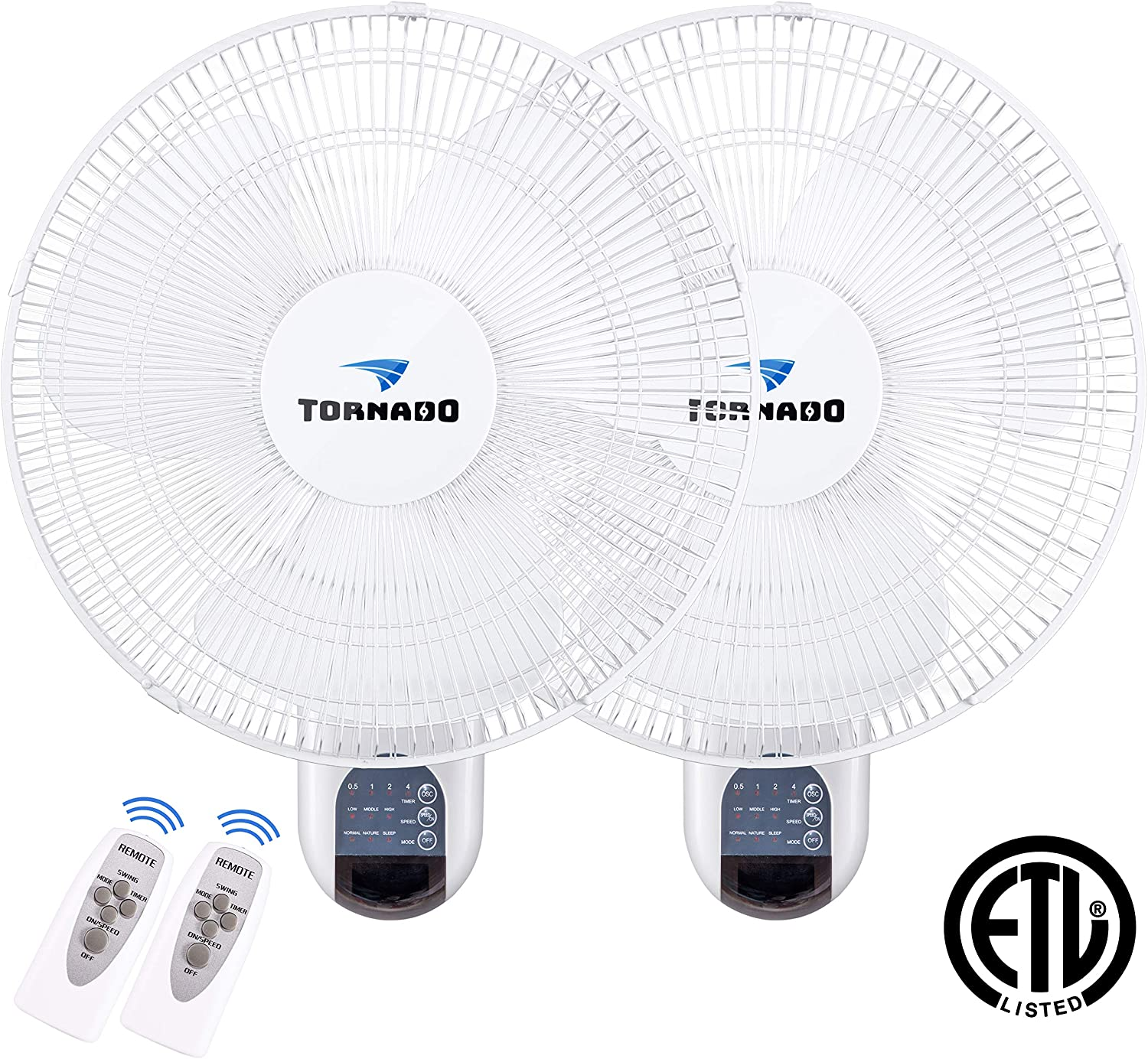 2 Pack - Tornado 16 Inch Digital Wall Mount Fan - Remote Control Included - 3 Speed Settings - 3 Oscillating Settings - 65 Inches Power Cord - Etl Safety Listed
