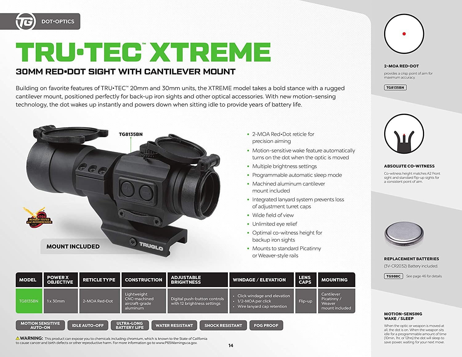 TRUGLO TRU-TEC Xtreme 30mm Tactical Red Dot Sight with Cantilever Mount