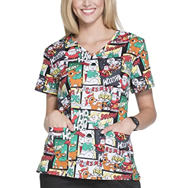 17357b30edc Character Arts Inc Women's Rudolph The Red-Nosed Reindeer Medical Scrub  Shirt Top (X