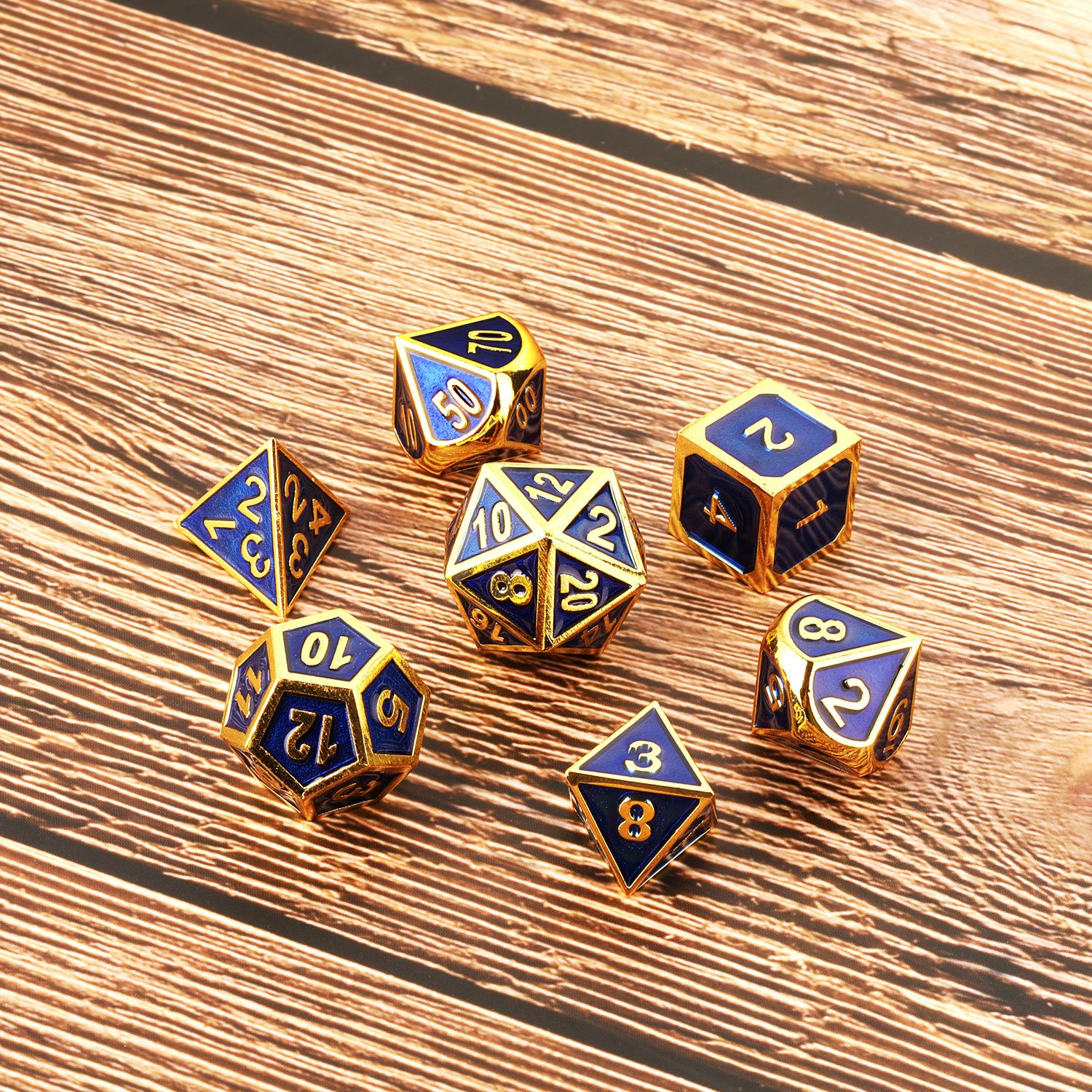Golden Cerulean Hestya 7 Pieces Metal Dices Set DND Game Polyhedral Solid Metal D/&D Dice Set with Storage Bag and Zinc Alloy with Enamel for Role Playing Game Dungeons and Dragons Math Teaching