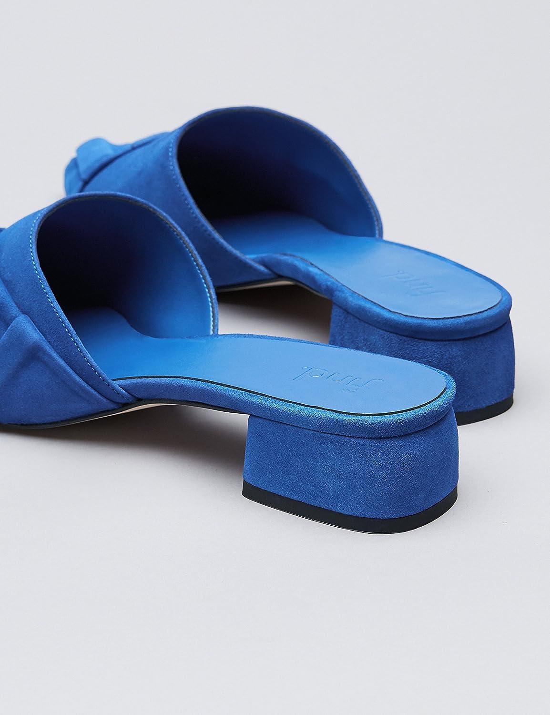 FIND Mules Damen aus Rauleder, mit Flachem Absatz, Rüschen und Volant, Blau (Blue), 36 EU