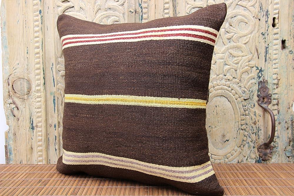 Red Pillow Turkish Kilim Pillow Throw Pillow Indoor Pillow No 2375 18x18 Natural Pillow Covers Pillows Striped Pillow Vintage Pillow