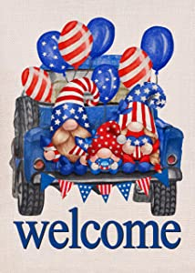 Covido Home Decorative USA July 4th Gnome Garden Flag, Welcome House Yard Lawn Decor Sign Red Blue White American Truck Outside Decorations, Patriotic Outdoor Small Burlap Flag Double Sided 12 x 18