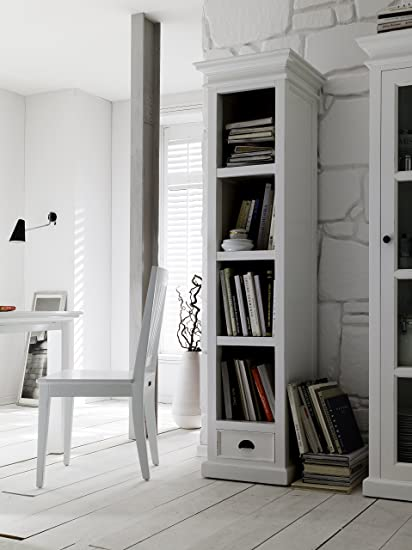 novasolo halifax pure white mahogany wood bookcase with 4 bookshelves with drawer - Mahogany Bookshelves