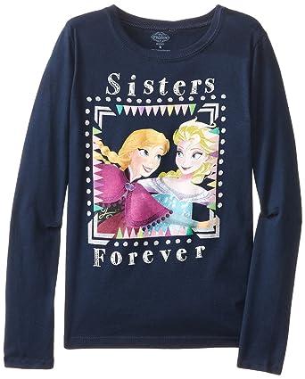 88652c80a Amazon.com: Disney Girls' Frozen Anna and Elsa T-Shirt: Clothing