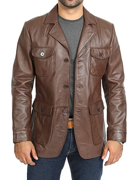 Mens Blazer Leather Jacket Buttoned Style Benjamin