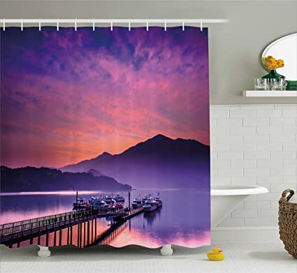 Ambesonne Landscape Shower Curtain Asian Seashore In Nantou Taiwan Majestic Cloudy Sky Scenery Lake Boats