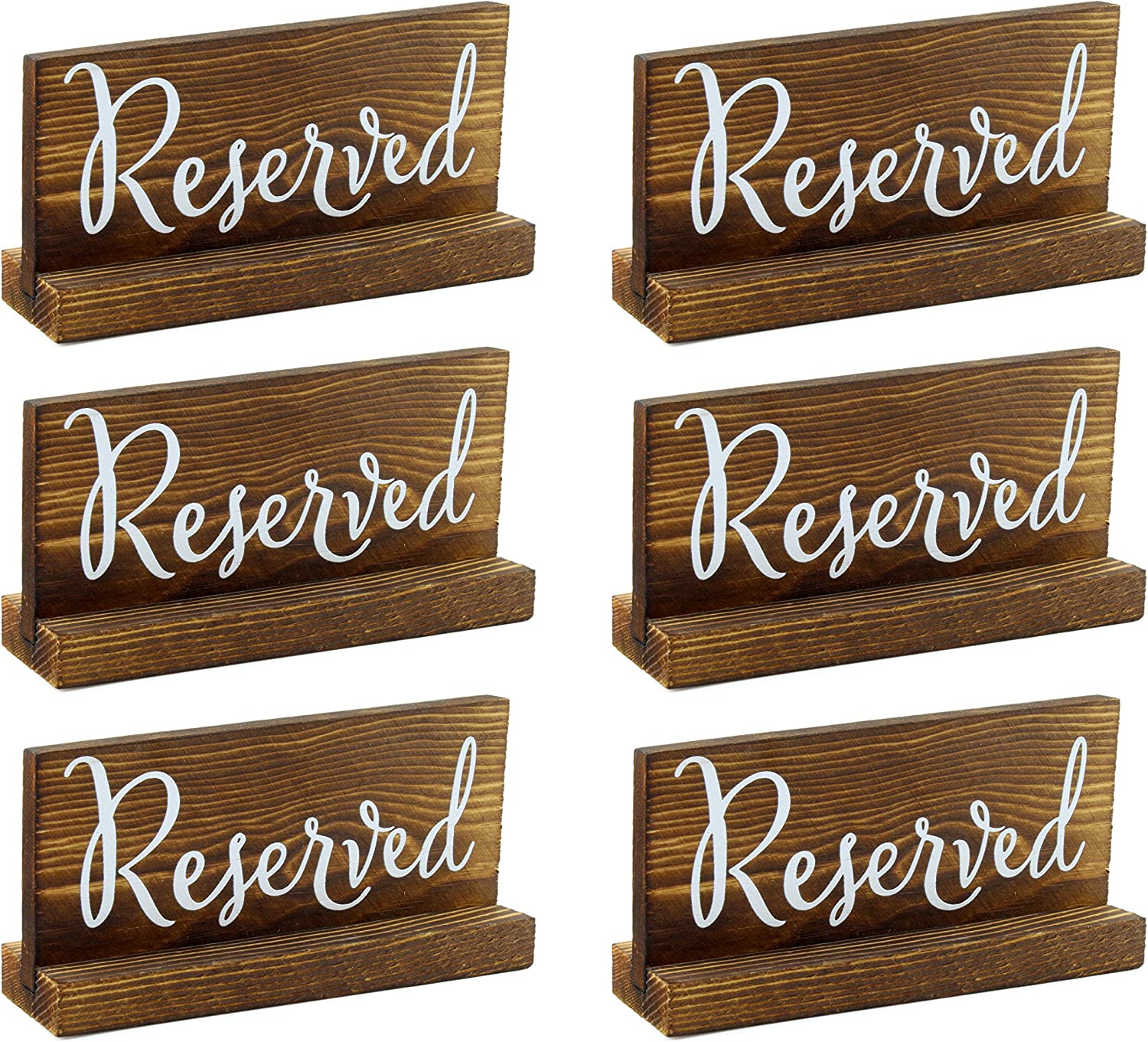Darware Wooden Reserved Signs for Tables (6-Pack); Rustic Real Table Signs with Sign Holders for Weddings, Special Events, and Restaurant Use