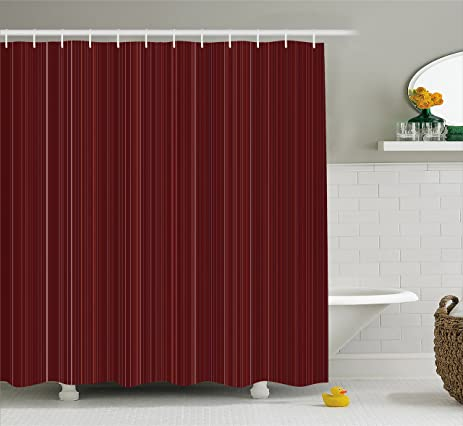Maroon Shower Curtain By Ambesonne Classical Striped Display With Thin Lines Modern Fashion Repetitive Abstract