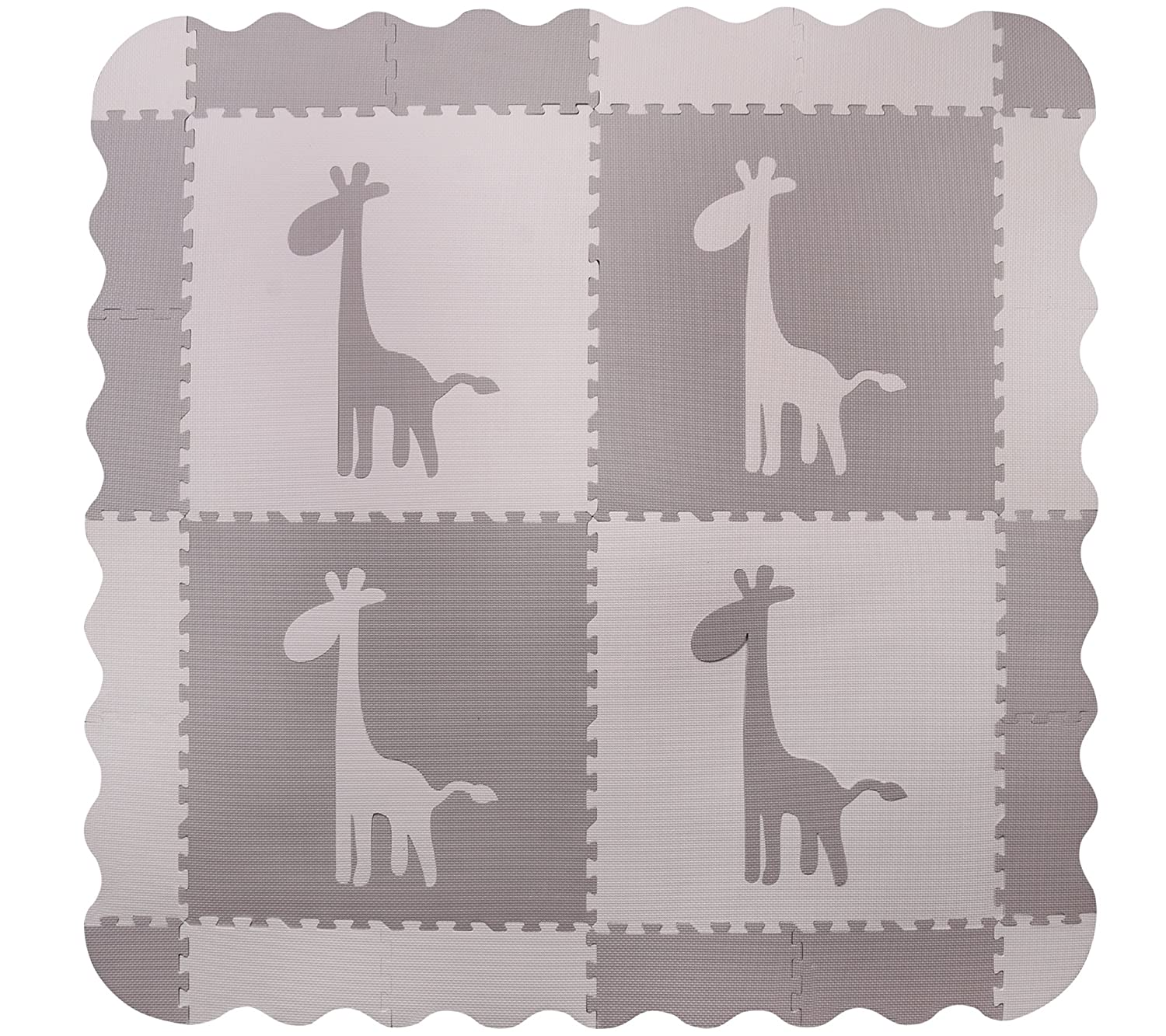 4 Large Grey Interlocking Foam Baby Play Mat with Giraffe Tiles - Play Mats with Edges. Each Tile 60 x 60cms. Total 1.2m2. For the Love of Leisure