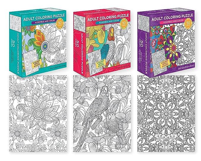 Amazon.com: ShoppeShare 50-Piece Adult Coloring Jigsaw Puzzles (3 ...