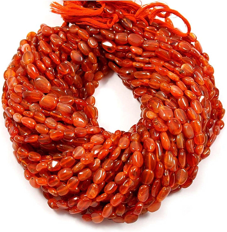 neerupam Collection indias piedras preciosas cornalina Natural simples perlas ovaladas naranjas (Mani) 13pulgadas Cable 3líneas V múltiple