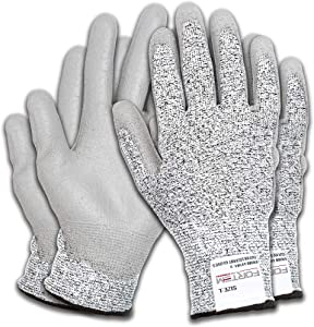 Fortem Cut Resistant Work Gloves, 4 Gloves, Level 5 Protection, Food Grade, EN388 Certified, Protective, Durable Grip PU Coated Palm (Extra Large)