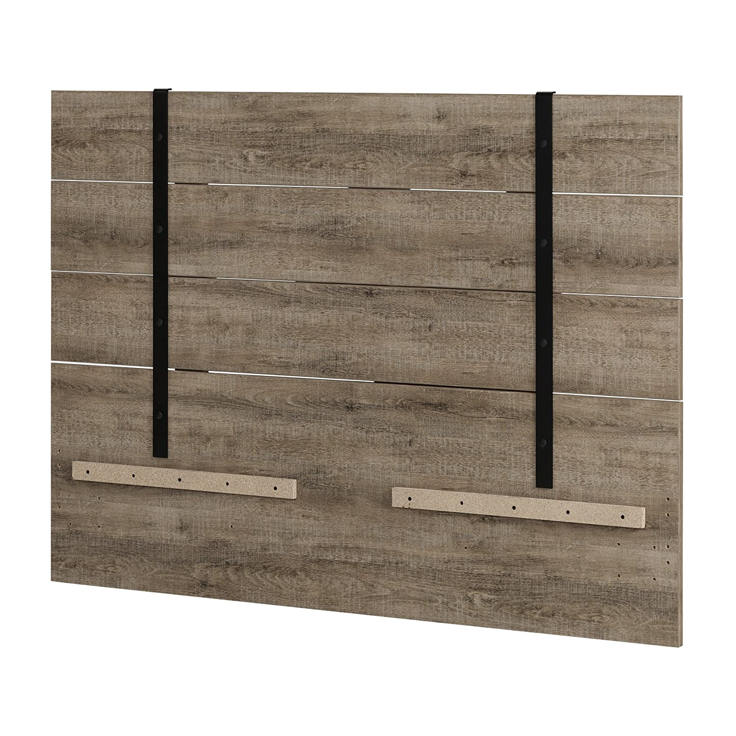 South Shore Furniture Valet Headboard 54 60'' Weathered Oak, Full Queen