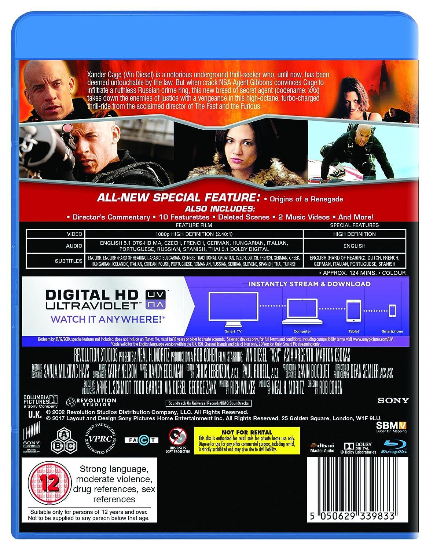 Xxx [Reino Unido] [Blu-ray]: Amazon.es: Marton Csokas, Samuel Jackson, Asia Argento, Vin Diesel, Rob Cohen, Neal H. Moritz, Neal Moritz, ...