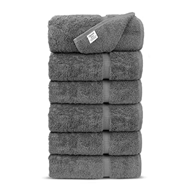 Luxury Premium Long-Stable Hotel & Spa Turkish Cotton 6-Piece Eco-Friendly Hand Towel Set (Gray)