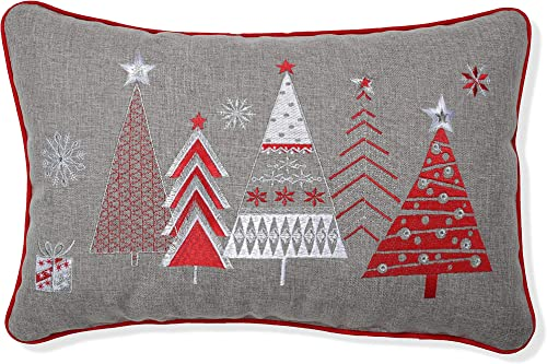 Pillow Perfect Christmas Star Topped Trees Embroidered Welt Cord Lumbar Decorative Pillow, 12 x 18 , Red, Gray, White