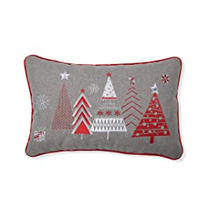 "Pillow Perfect Christmas Star Topped Trees Embroidered Welt Cord Lumbar Decorative Pillow, 12"" x 18"", Red, Gray, White"