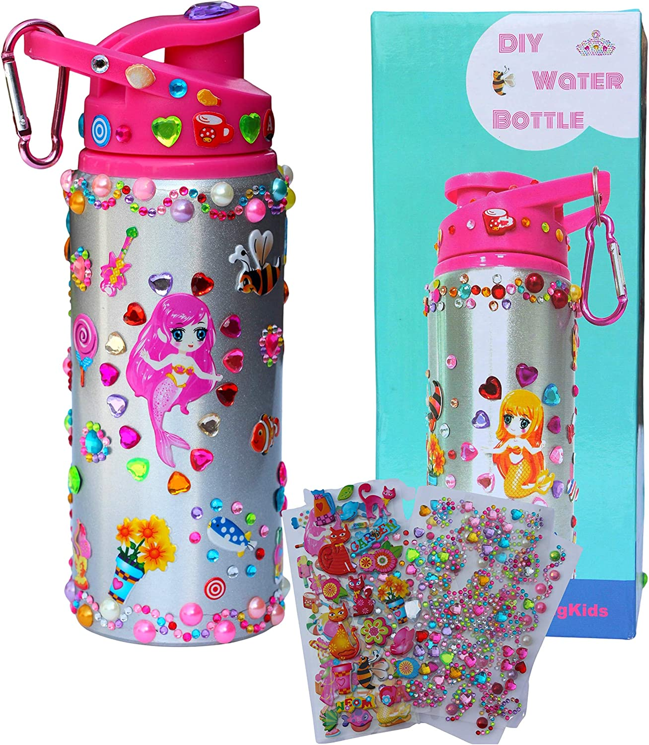 Decorate Your Own Water Bottle with Tons of Rhinestone Glitter Gem Stickers Pink Fun DIY Art Craft Kit for Kids- 12OZ BPA Free 304 Stainless Steel Insulated Kids Water Bottle DIY Gifts for Girls