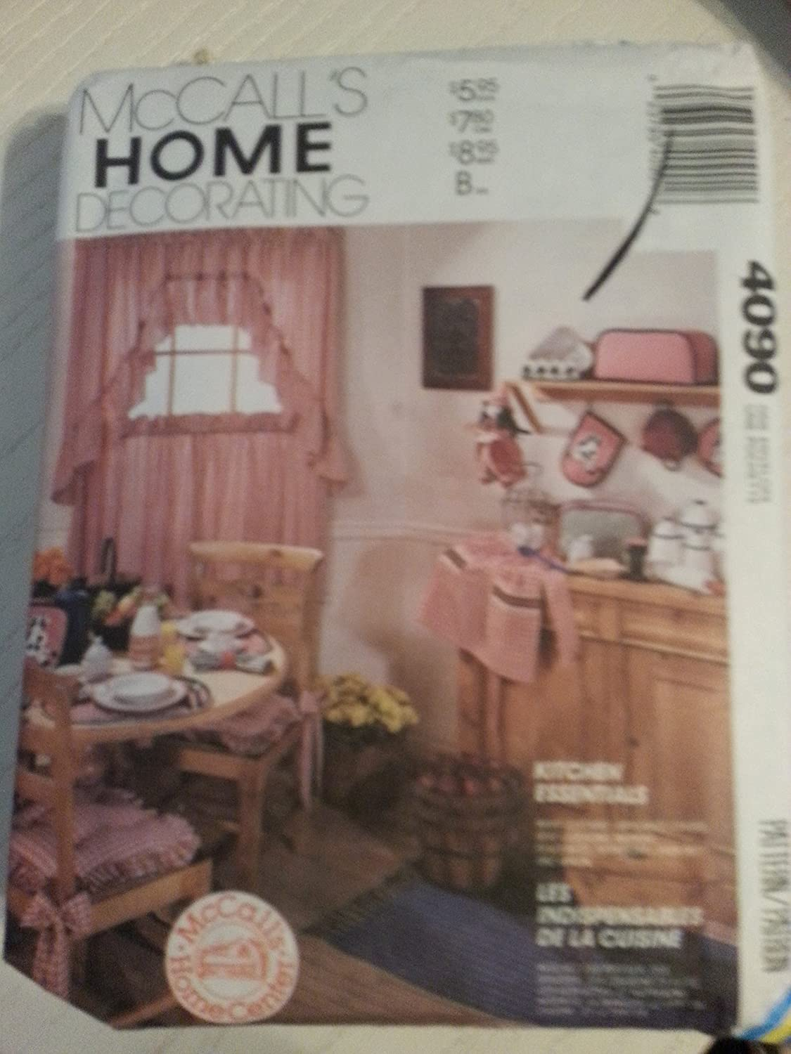 McCall's 4090 Sewing Pattern Curtains Apron Appliance Covers Pot Holder Oven Mitt