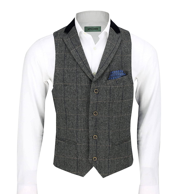 Xposed Mens Grey Herringbone Check 3 Piece Suit Sold Separate Blazer Trouser Waistcoat
