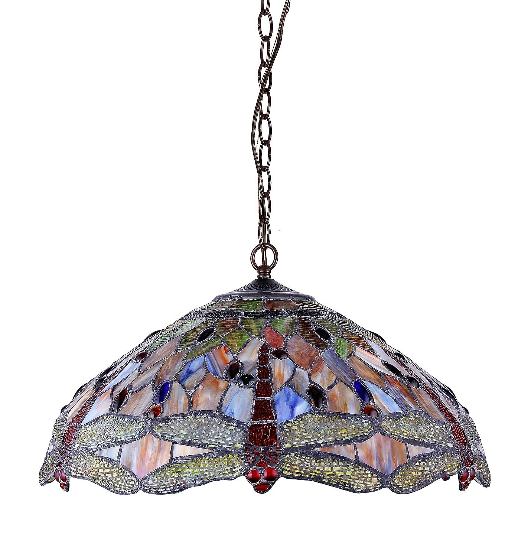 tiffany style pendant light. Chloe CH2825DB18-DH3 Tiffany-style Dragonfly 3-Light Ceiling Pendant Fixture, 18-Inch - Tiffany Lamp Amazon.com Style Light